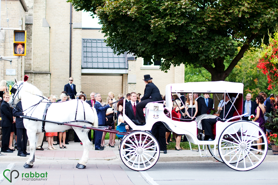 Horse and buggy outside the church