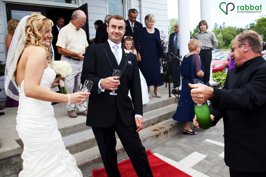 Champagne after the wedding ceremony