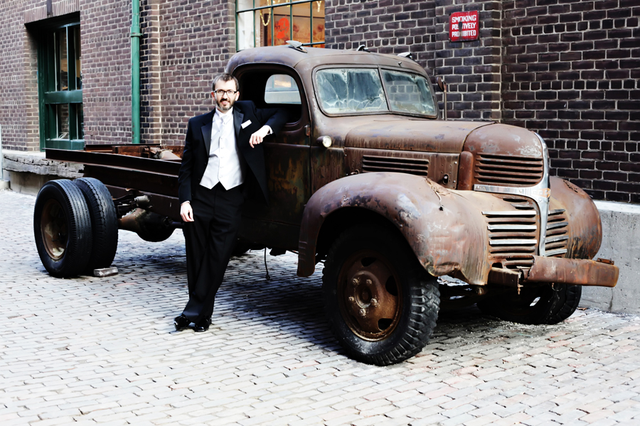 In front of the famous truck in the Distillery