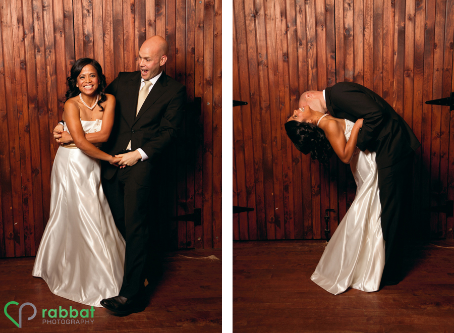 Bride and groom having fun together
