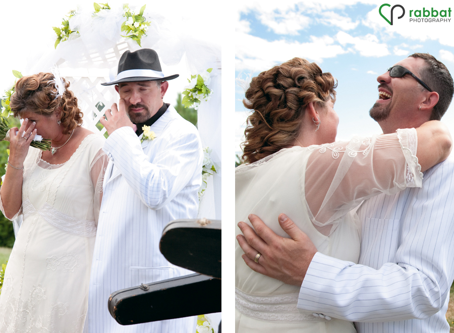 Bride and groom crying during the ceremony