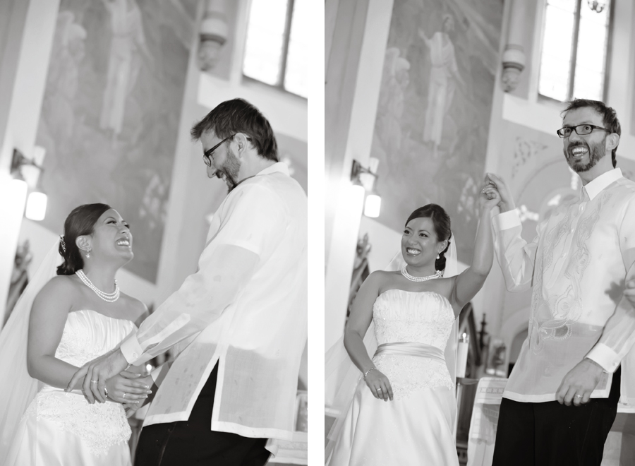 Bride and groom at St. Cecilia's in Toronto