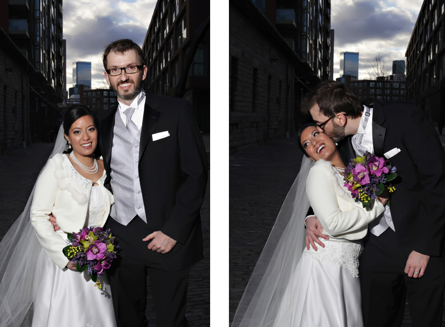 Wedding couple in Distillery District