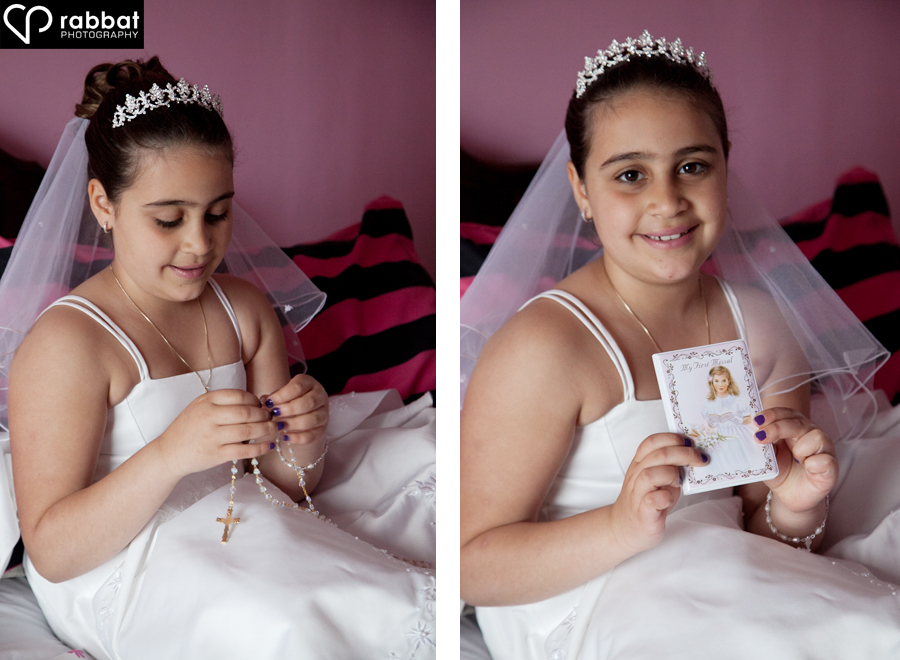 First Communion Portrait with Rosary and Prayer Book