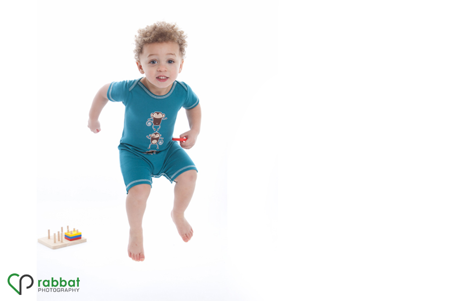 Toddler Jumping as he models Wee Urban clothing Rabbat Photography 4