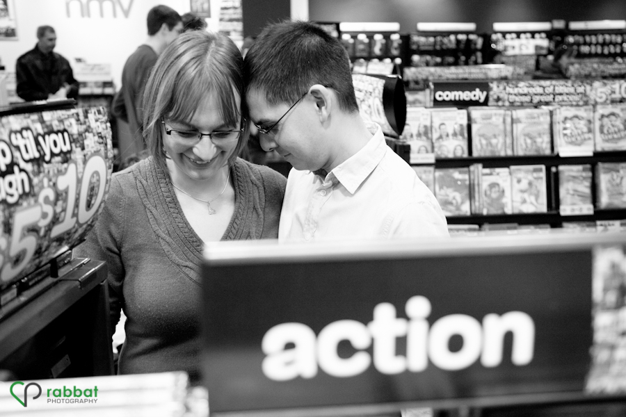 Tom and Julia's engagement photos in the action section of HMV