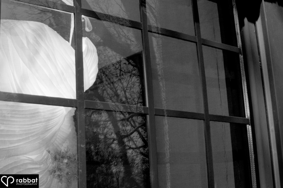 Bridal gown in the window