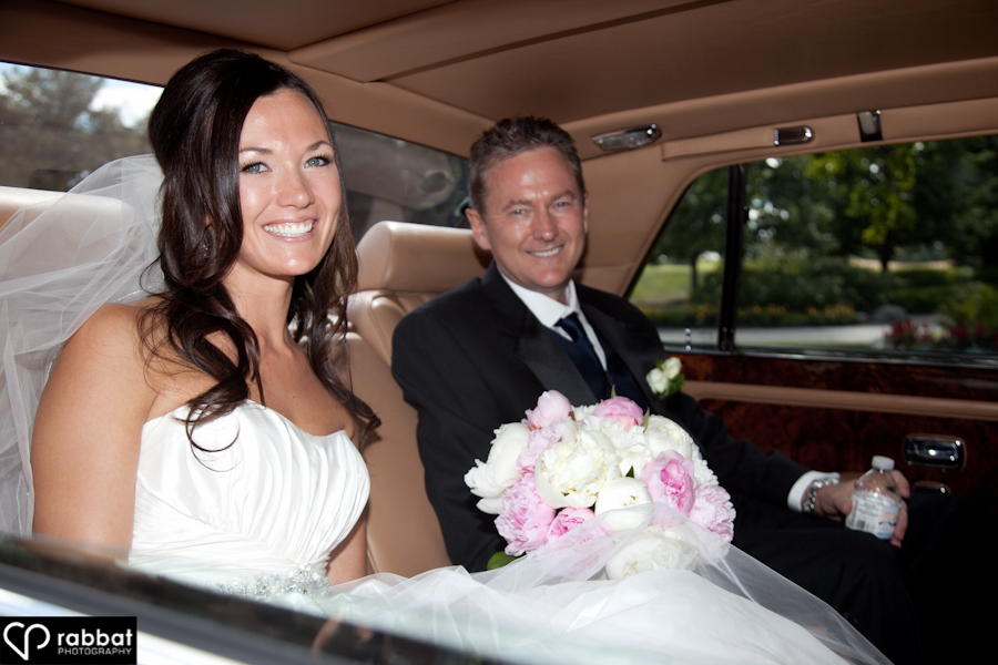 Jenn and her dad in the limo