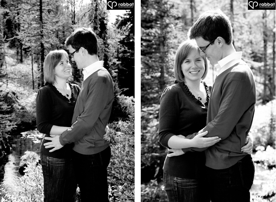 Engaged couple surrounded by larch trees. Rocky mountain engagement photos.