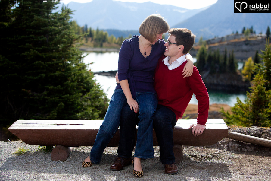 Love in the rockies.  Rocky mountain engagement photo.
