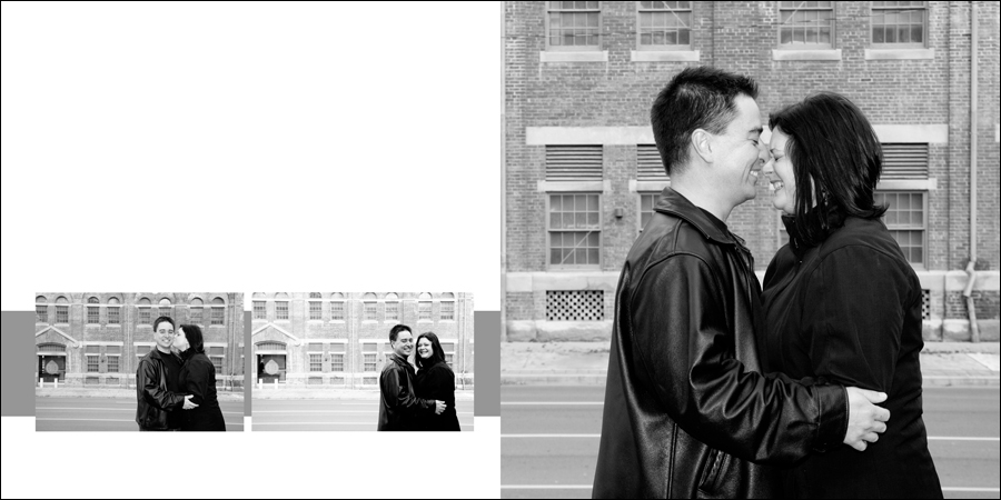 Engagement photos in front of the old police station