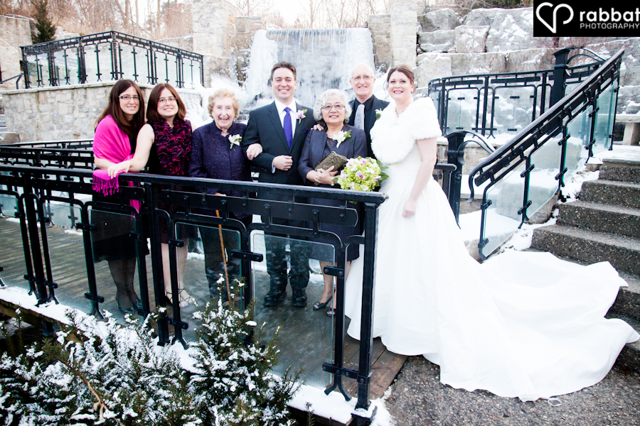 Family photo in the winter at the Ancaster Old Mill
