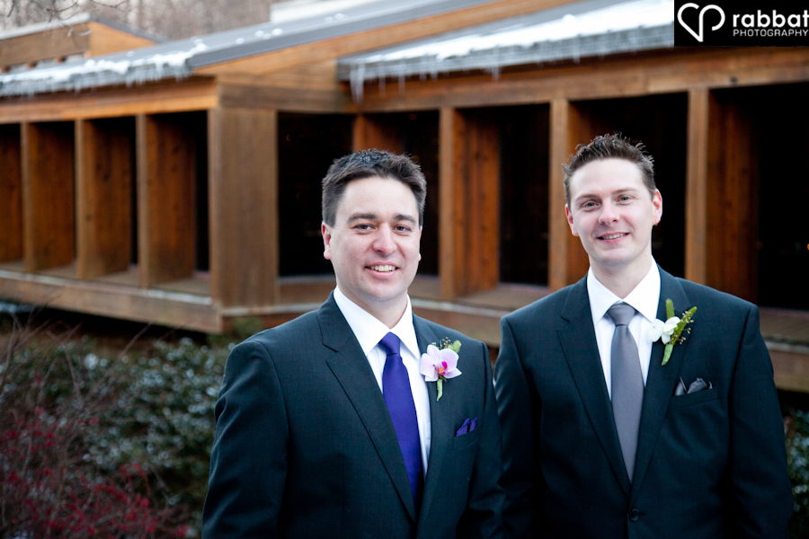 Groom and Best Man Ancaster Old Mill in Winter