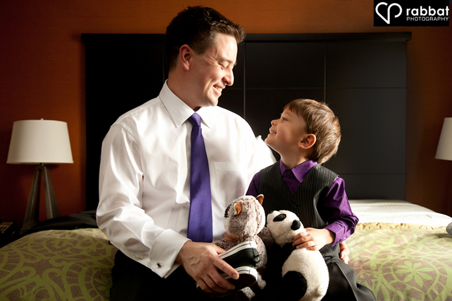 Groom and son at Staybridge Suites in Hamilton