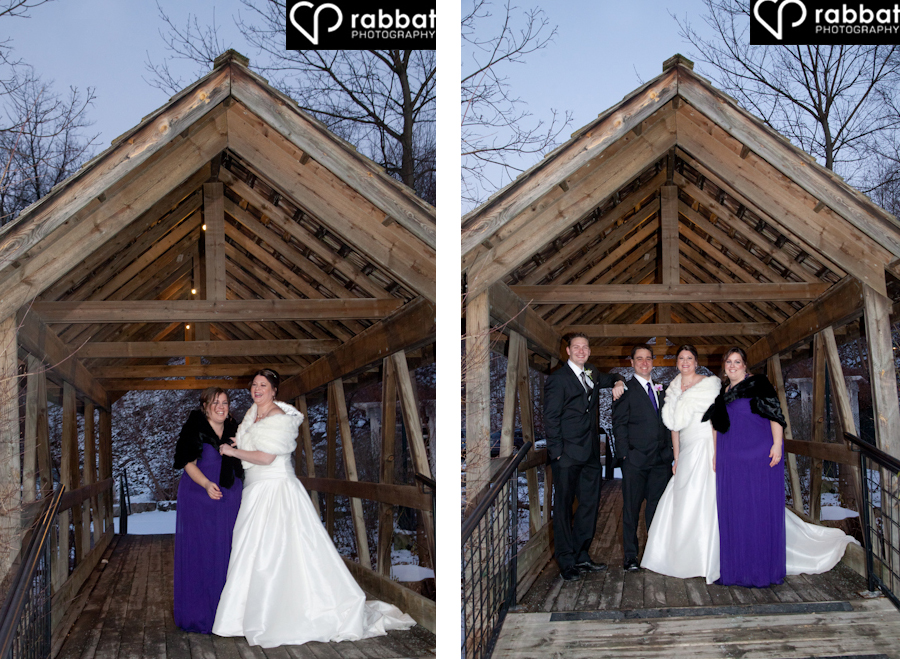 Wedding party photos on the bridge at the Ancaster Old Mill in the winter