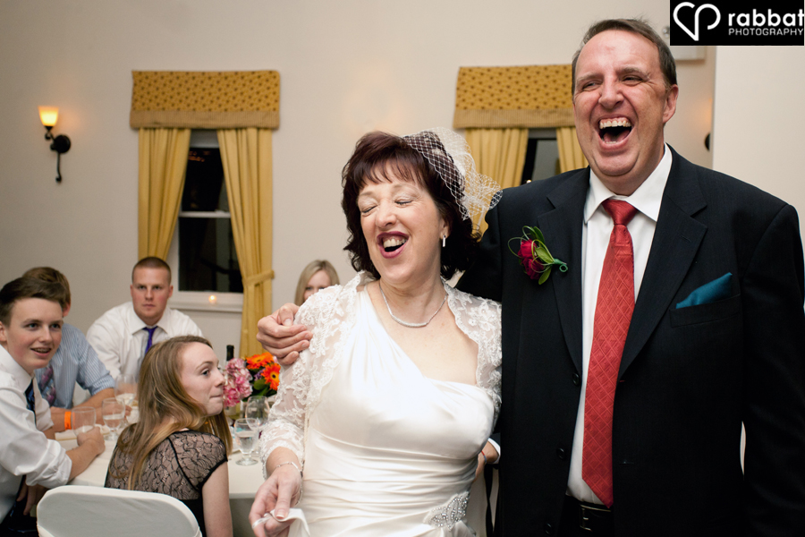 laughing at the reception