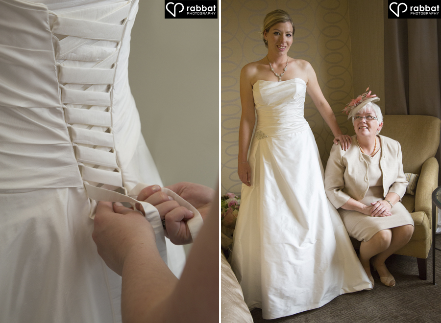 Lacing up the bridal gown and portrait with mom