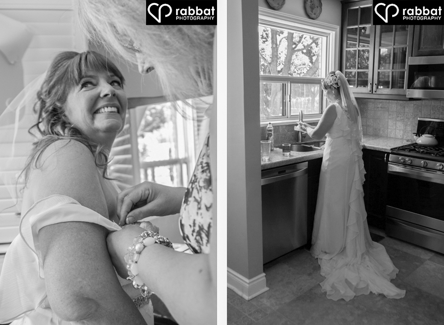 Bride getting dress sewn and bride going about her daily routine