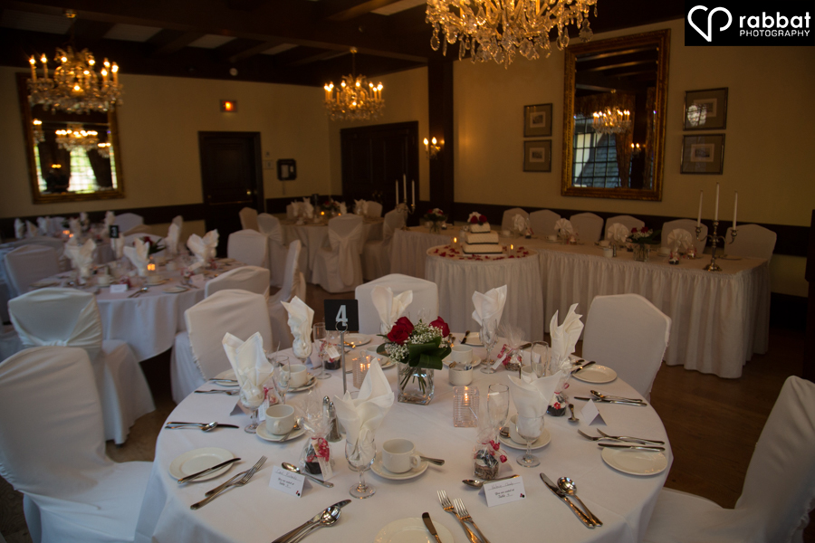 Wedding table set up at the Old Mill in Etobicoke