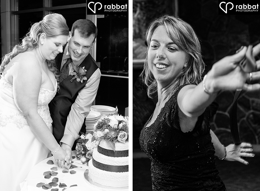 Cake cutting and dancing at the reception
