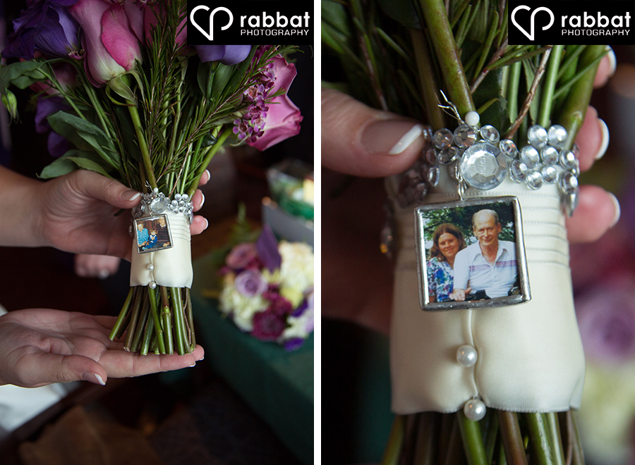 Memorial photos on bouquet