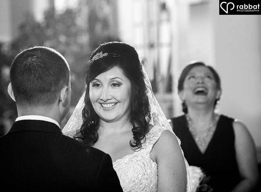 Laughing at ceremony