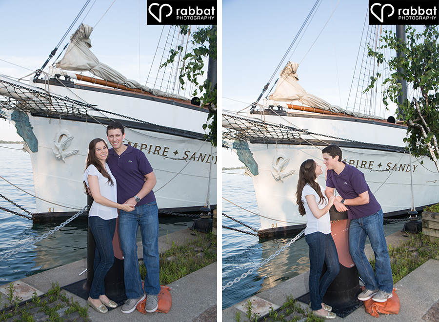 Photos in front of boat