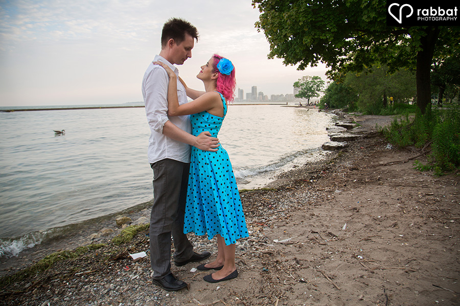 Engagement photos at dusk on Lake Ontario