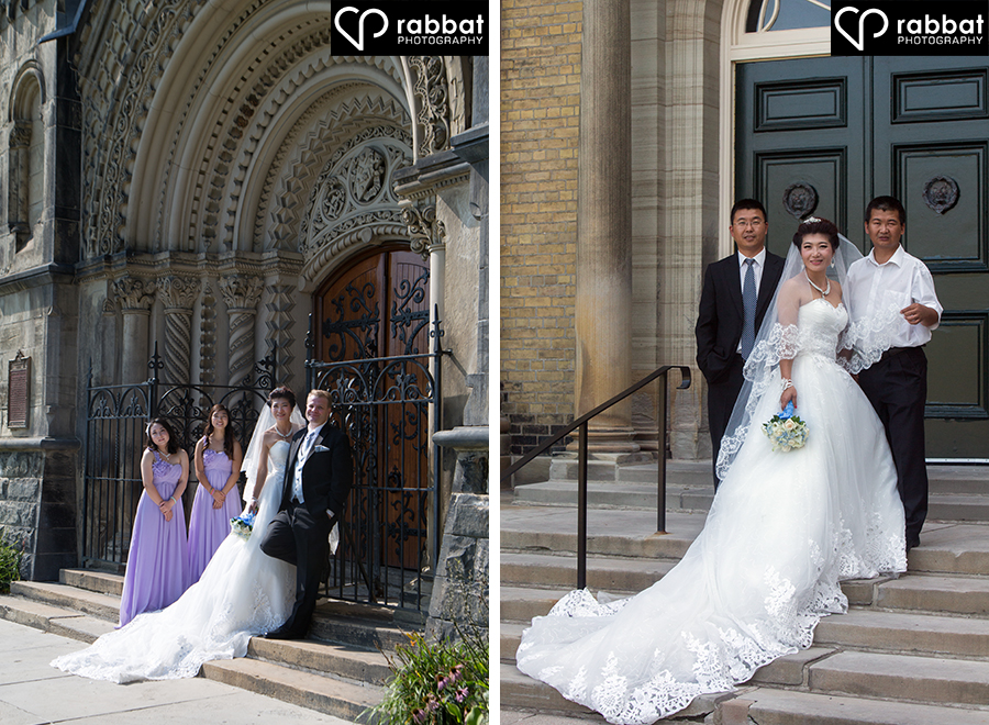 Bridal party at U of T and bride with brothers at U of T