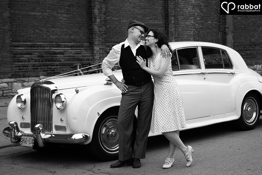 Engagement photo in front of retro car