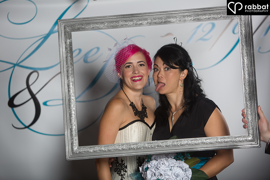 Dee and her matron of honour in a picture frame
