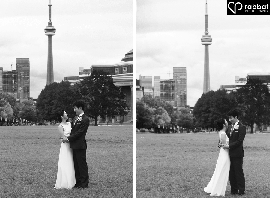 Toronto couples portraits at U of T with the CN tower