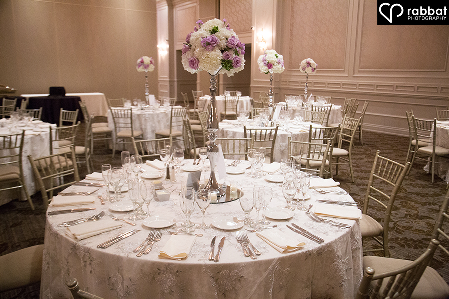 Wedding table setting at Hazelton Manor