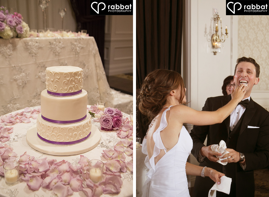 Wedding cake and couple feeding each other cake