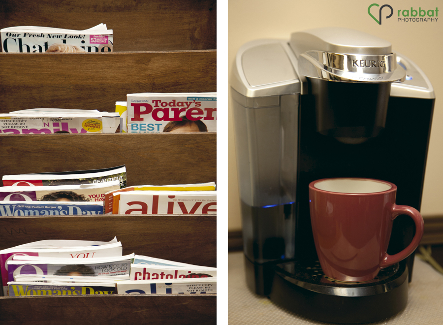Magazines and coffee maker