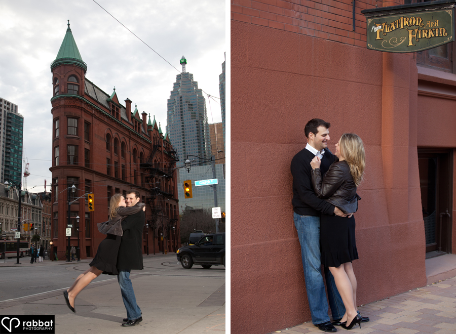 Toronto downtown engagement photos in front of the flat iron building
