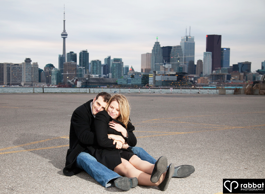 Engagement photo at The Docks in downtown Toronto