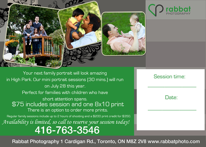 Outdoor family portrait special in High Park