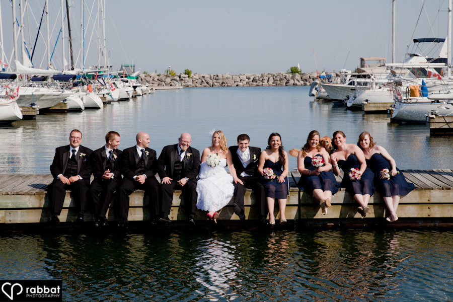 Wedding party on the docks
