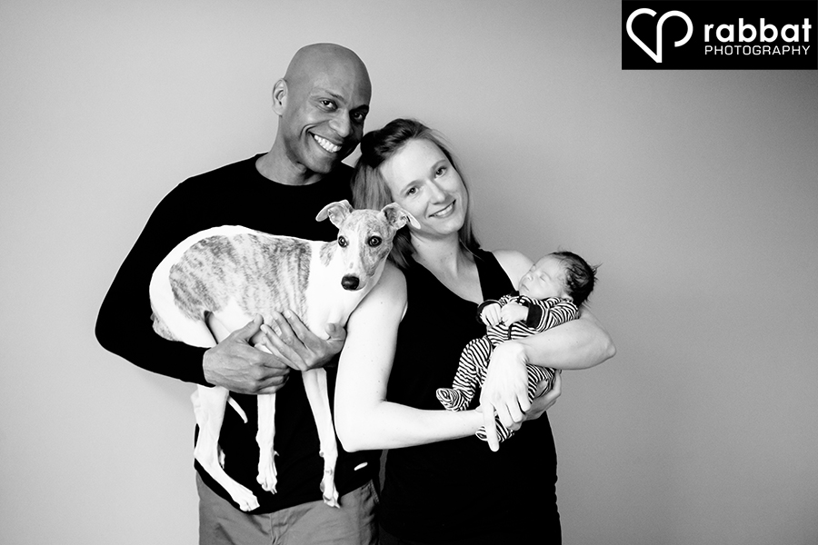 Family Portrait with newborn and dog