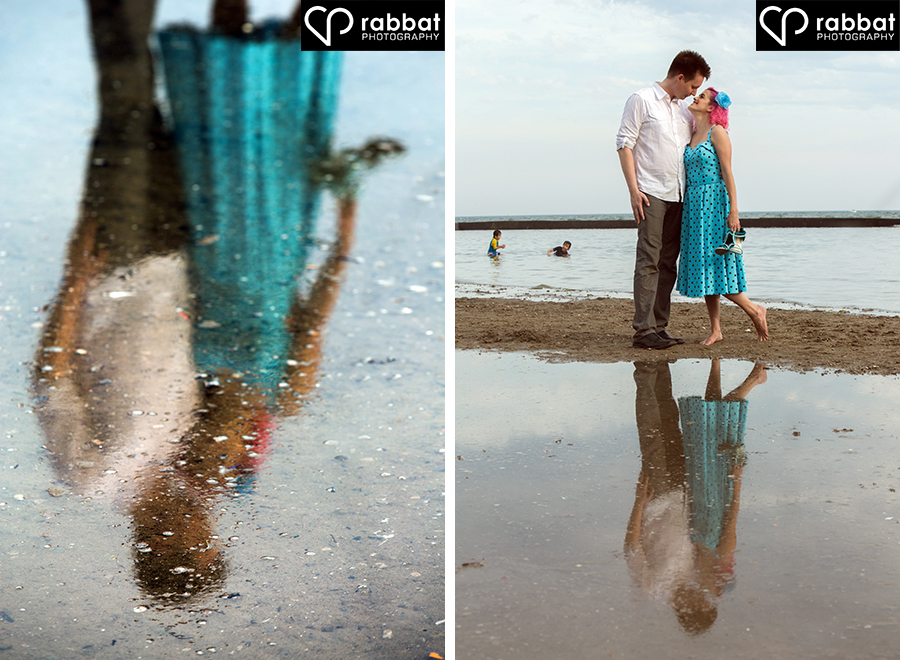 Creative engagement photos at Sunnyside beach
