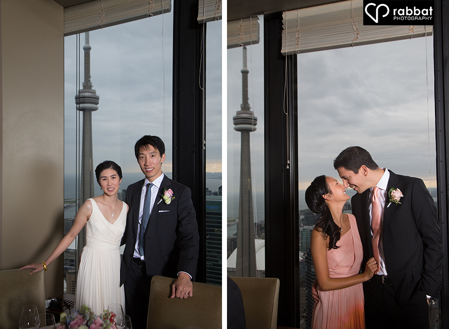 Couples in front of CN tower