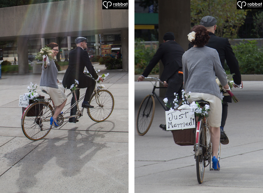Newlyweds on tandem bike