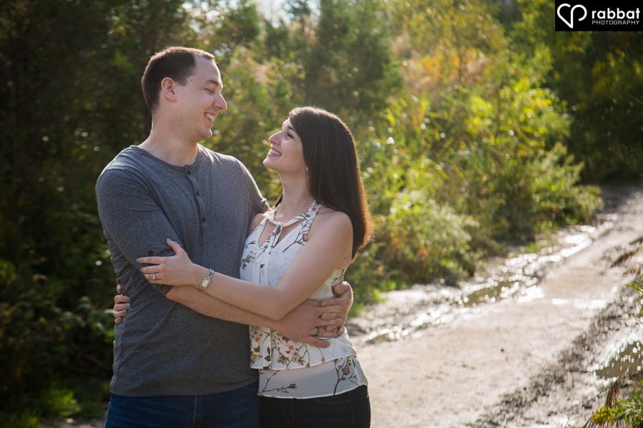 Engagement photos with rim lighting