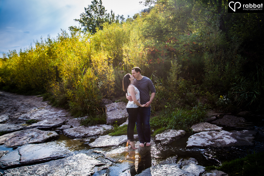 Pond engagement photos at the Scarborough Bluffs
