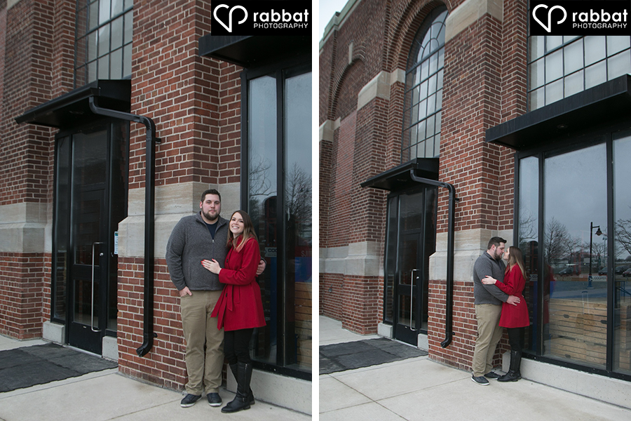 Engagement photos in front of historic building