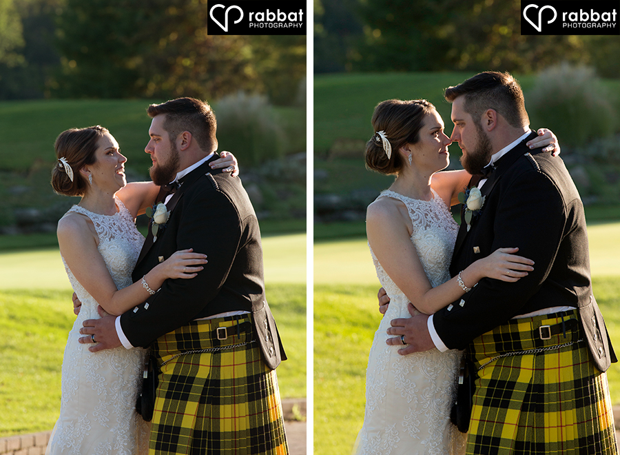 Happy couple, nose to nose, romantic photos, backlit photos, beautiful couple, bride and groom, groom in kilt, lace dress, Rabbat Photography, wedding photos at King's Riding golf club, King riding, photos on golf course, romantics, playful