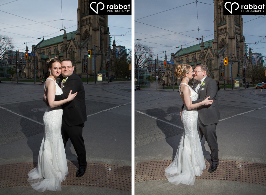 Downtown Toronto night time wedding photos