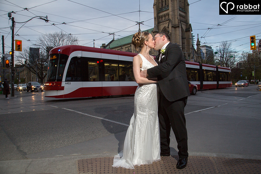 Wedding photo with streetcar in background